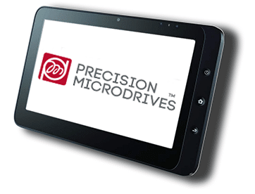 A touch screen tablet displaying the Precision Microdrives logo