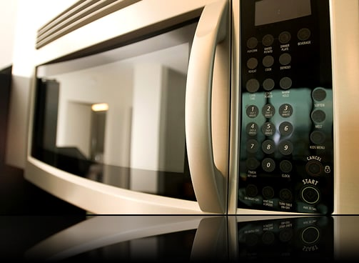 Touchscreen haptic feedback being used in a microwave control panel