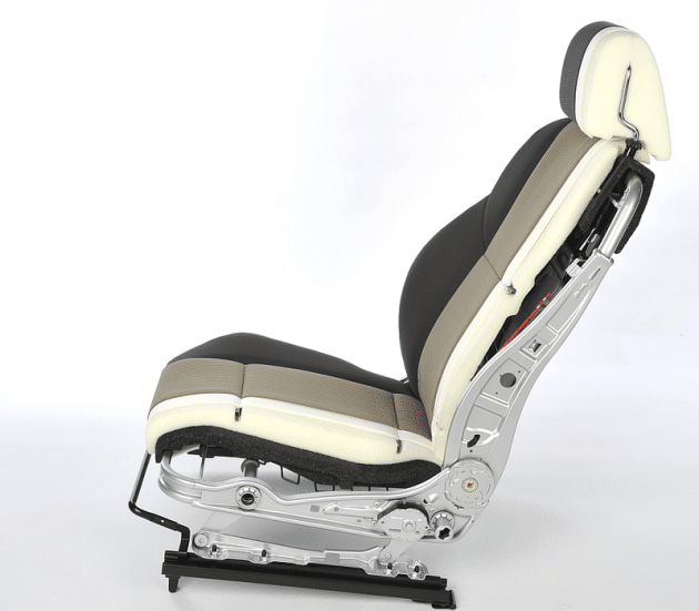 Cross section of a front car seat showing what what it is made from