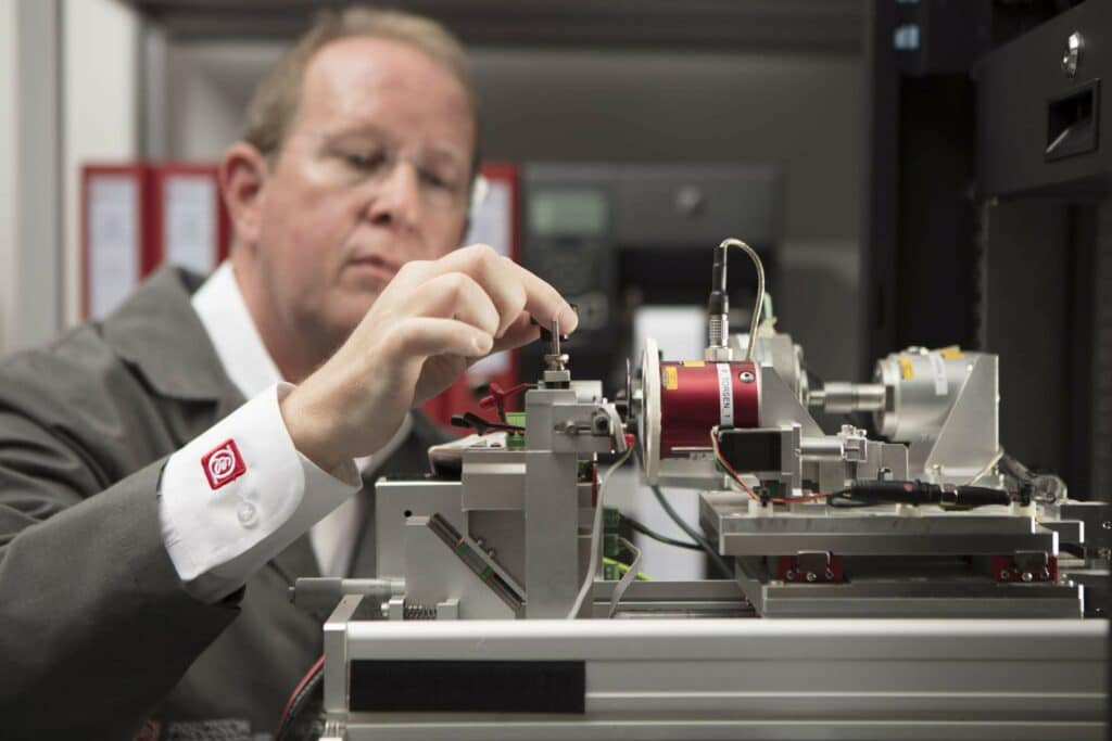 Precision Microdrives Engineer validating a motor using a dynameter