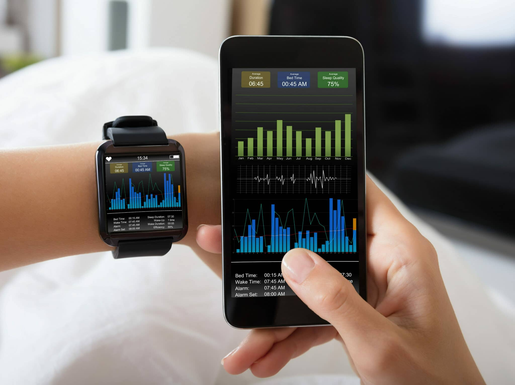 A left wrist wearing a smartwatch and a right hand holding a smartphone. Both devices are displaying the same graphs.