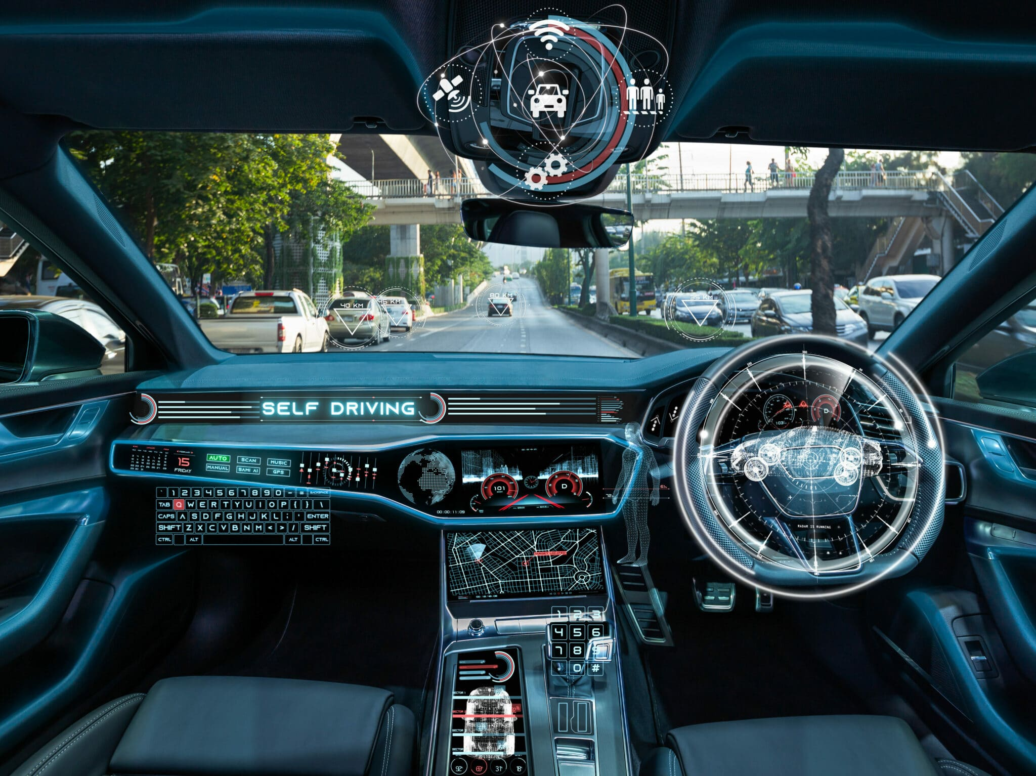 The inside of a modern car highlighting all the points where the automation can happen