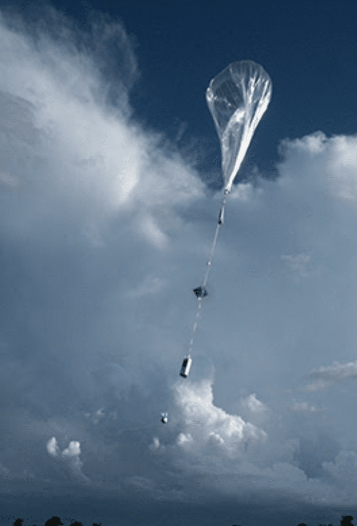 A cloudy sky with a weather balloon transporting a measuring lab to the target atmospheric layer.